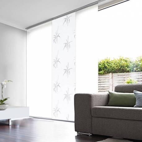Kit 1 Panneaux Japonais Tamisant Barre Chêne + 2 Panneaux blancs + 1 Rail 120cm
