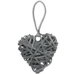 Gland de clé coeur en osier gris pour accessoiriser meubles et objets - V.créations