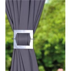 Barette carrée en aluminium coloris argent pour rideaux - V.créations