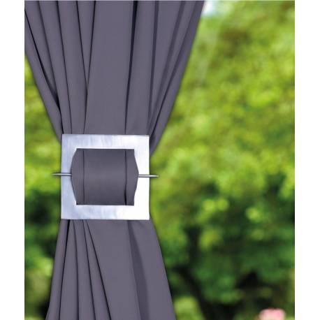 Barette carrée en aluminium coloris argent pour rideaux ambiance - V.créations