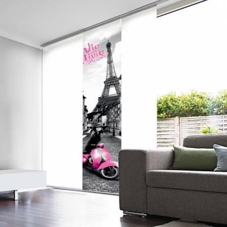 Panneau Japonais Tamisant Blanc Dévoré enduit Vie en rose Paris
